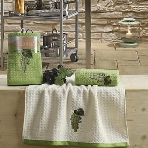 Набор полотенец Karna LEMON вафля хлопок зелёный V1 45х65 2 шт.