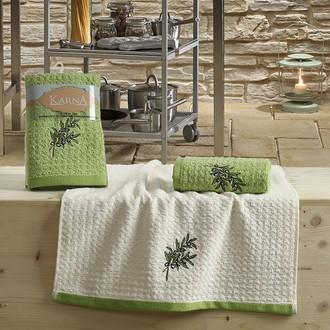 Набор полотенец Karna LEMON вафля хлопок (зелёный V2)