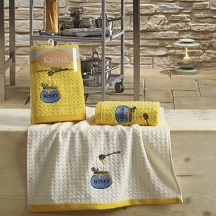 Набор полотенец Karna LEMON вафля хлопок жёлтый V3 45х65 2 шт.
