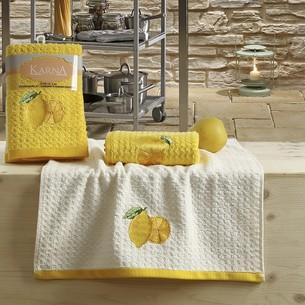 Набор полотенец Karna LEMON вафля хлопок жёлтый V1 45х65 2 шт.