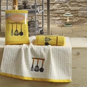 Набор полотенец Karna LEMON вафля хлопок жёлтый V2 45х65 2 шт.