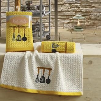 Набор полотенец Karna LEMON вафля хлопок (жёлтый V2)