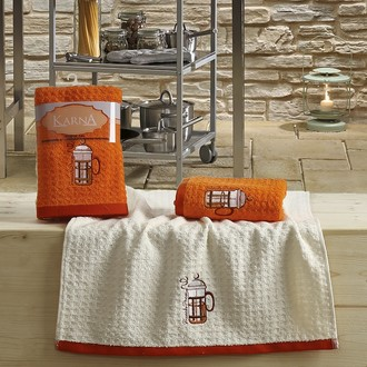 Набор полотенец Karna LEMON вафля хлопок (оранжевый V2)