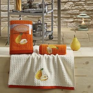 Набор полотенец Karna LEMON вафля хлопок оранжевый V3 45х65 2 шт.