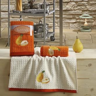 Набор полотенец Karna LEMON вафля хлопок (оранжевый V3)