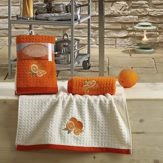 Набор полотенец Karna LEMON вафля хлопок (оранжевый V1)
