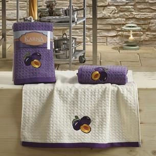 Набор полотенец Karna LEMON вафля хлопок сиреневый V3 45х65 2 шт.
