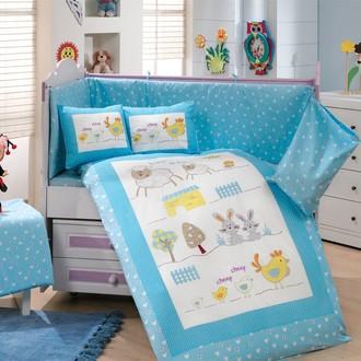 Набор в детскую кроватку для новорожденных Hobby ZOO поплин хлопок (голубой)