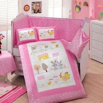 Набор в детскую кроватку для новорожденных Hobby ZOO поплин хлопок (розовый)
