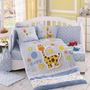 Набор в детскую кроватку для новорожденных Hobby PUFFY поплин хлопок голубой