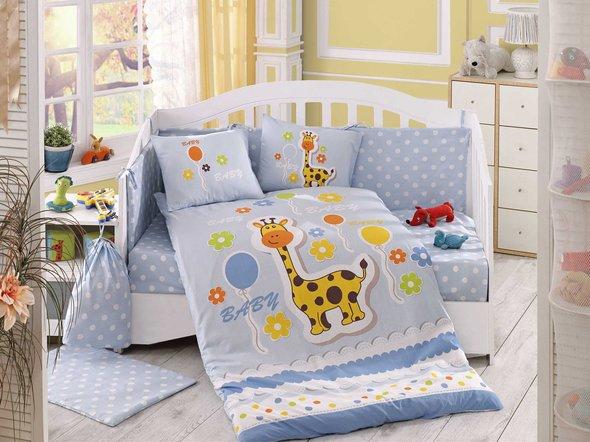 Набор в детскую кроватку для новорожденных Hobby PUFFY поплин хлопок (голубой), фото, фотография