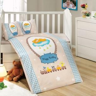 Постельное белье для новорожденных с покрывалом Hobby Home Collection BAMBAM хлопковый поплин голубой