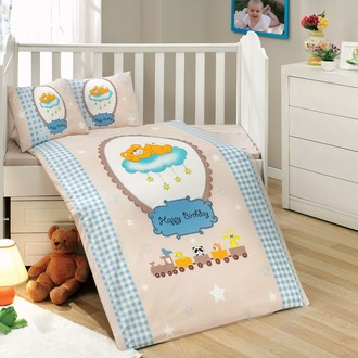 Комплект постельного белья для новорожденного с покрывалом Hobby BAMBAM поплин хлопок (голубой)