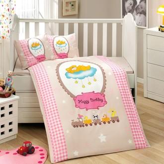 Комплект постельного белья для новорожденного с покрывалом Hobby BAMBAM поплин хлопок (розовый)