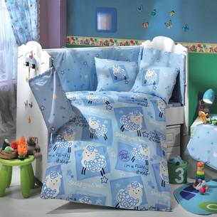 Постельное белье для новорожденных с покрывалом Hobby Home Collection LITTLE SHEEP хлопковый поплин голубой