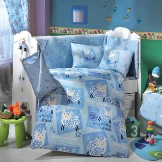 Комплект постельного белья для новорожденного с покрывалом Hobby LITTLE SHEEP поплин хлопок (голубой)