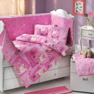 Комплект постельного белья для новорожденного с покрывалом Hobby LITTLE SHEEP поплин хлопок (розовый)