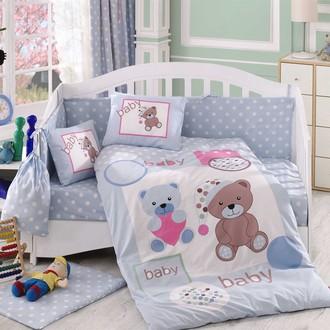 Комплект постельного белья для новорожденного с покрывалом Hobby PONPON поплин хлопок (голубой)