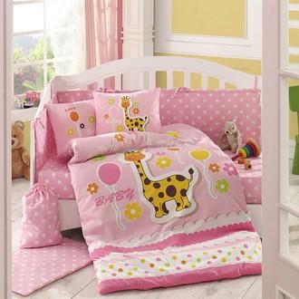 Комплект постельного белья для новорожденного с покрывалом Hobby PUFFY поплин хлопок (розовый)