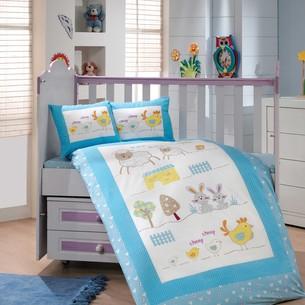 Постельное белье для новорожденных с покрывалом Hobby Home Collection ZOO хлопковый поплин голубой