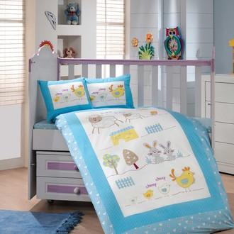 Комплект постельного белья для новорожденного с покрывалом Hobby ZOO поплин хлопок (голубой)