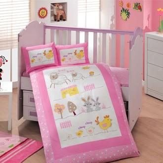 Комплект постельного белья для новорожденного с покрывалом Hobby ZOO поплин хлопок (розовый)