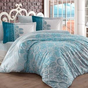 Постельное белье Hobby Home Collection IRENE хлопковый поплин бирюзовый 1,5 спальный