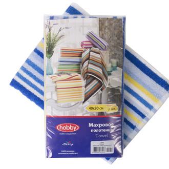 Полотенце кухонное в упаковке Hobby CIZGI махра хлопок (голубой)