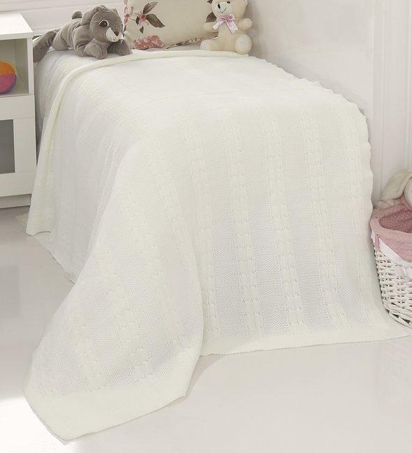Плед-покрывало детское Karna SILVIA вязаный акрил (белый) 100*150, фото, фотография