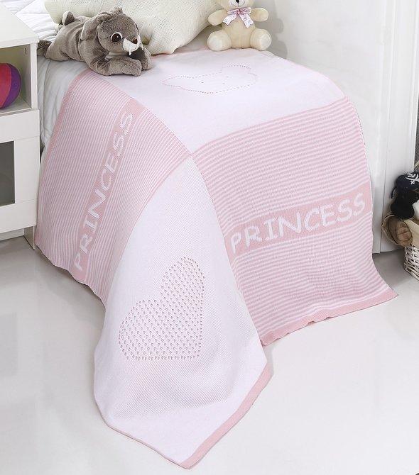 Плед-покрывало детское Karna PRENS вязаный акрил (розовый) 80*90, фото, фотография