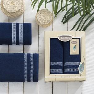 Набор полотенец Karna PETEK махра хлопок 50х90, 70х140 коробка синий
