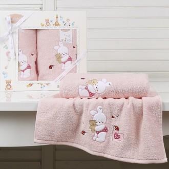 Набор полотенец детских в подарочной упаковка Karna BAMBINO-BUNNY махра розовый