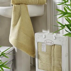 Набор полотенец банных в подарочной упаковке 50х90, 70х140 Karna PANDORA махра бамбук золотистый