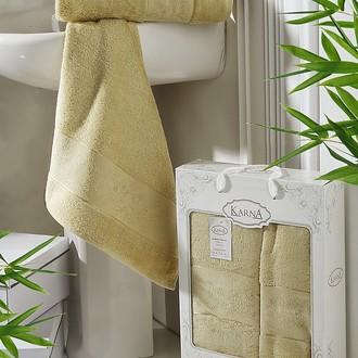 Набор полотенец банных в подарочной упаковке 50*90, 70*140 Karna PANDORA махра бамбук (золотистый)