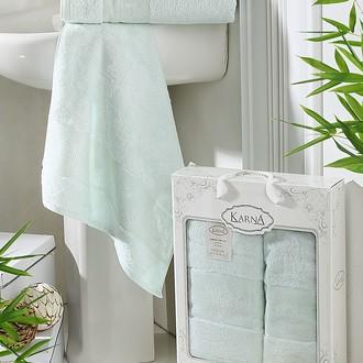Набор полотенец банных в подарочной упаковке 50*90, 70*140 Karna PANDORA махра бамбук (ментол)