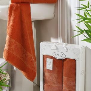 Набор полотенец банных в подарочной упаковке 50х90, 70х140 Karna PANDORA махра бамбук кирпичный