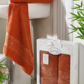 Набор полотенец банных в подарочной упаковке 50*90, 70*140 Karna PANDORA махра бамбук кирпичный