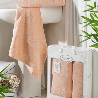 Набор полотенец банных в подарочной упаковке 50*90, 70*140 Karna PANDORA махра бамбук абрикосовый