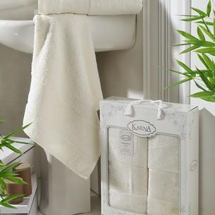 Набор полотенец банных в подарочной упаковке 50х90, 70х140 Karna PANDORA махра бамбук кремовый