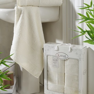 Набор полотенец банных в подарочной упаковке 50*90, 70*140 Karna PANDORA махра бамбук кремовый