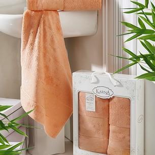 Набор полотенец банных в подарочной упаковке 50х90, 70х140 Karna PANDORA махра бамбук коралловый