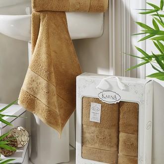 Набор полотенец банных в подарочной упаковке 50х90, 70х140 Karna PANDORA махра бамбук горчичный