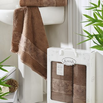 Набор полотенец банных в подарочной упаковке 50*90, 70*140 Karna PANDORA махра бамбук (коричневый)