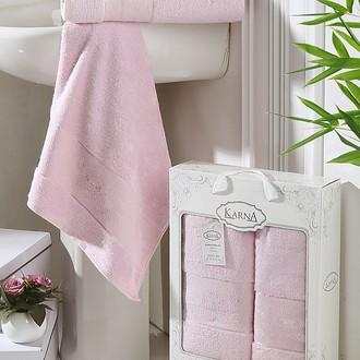 Набор полотенец банных в подарочной упаковке 50*90, 70*140 Karna PANDORA махра бамбук (светло-розовый)