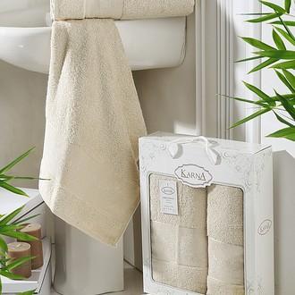 Набор полотенец банных в подарочной упаковке 50*90, 70*140 Karna PANDORA махра бамбук (бежевый)