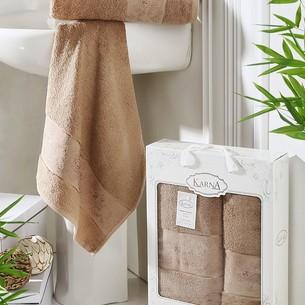 Набор полотенец банных в подарочной упаковке 50х90, 70х140 Karna PANDORA махра бамбук капучино
