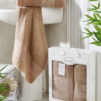 Набор полотенец банных в подарочной упаковке 50*90, 70*140 Karna PANDORA махра бамбук (капучино)