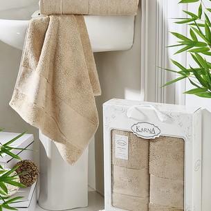 Набор полотенец банных в подарочной упаковке 50х90, 70х140 Karna PANDORA махра бамбук кофейный