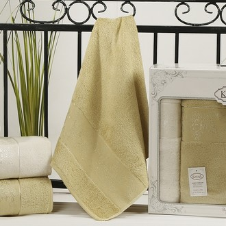 Набор полотенец банных в подарочной упаковке 50*90(2), 90*150(2) Karna PANDORA махра бамбук (кремовый+золотистый)