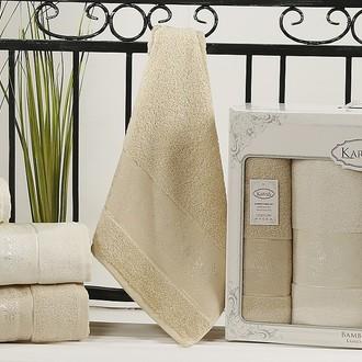 Набор полотенец банных в подарочной упаковке 50*90(2), 90*150(2) Karna PANDORA махра бамбук (кремовый+бежевый)